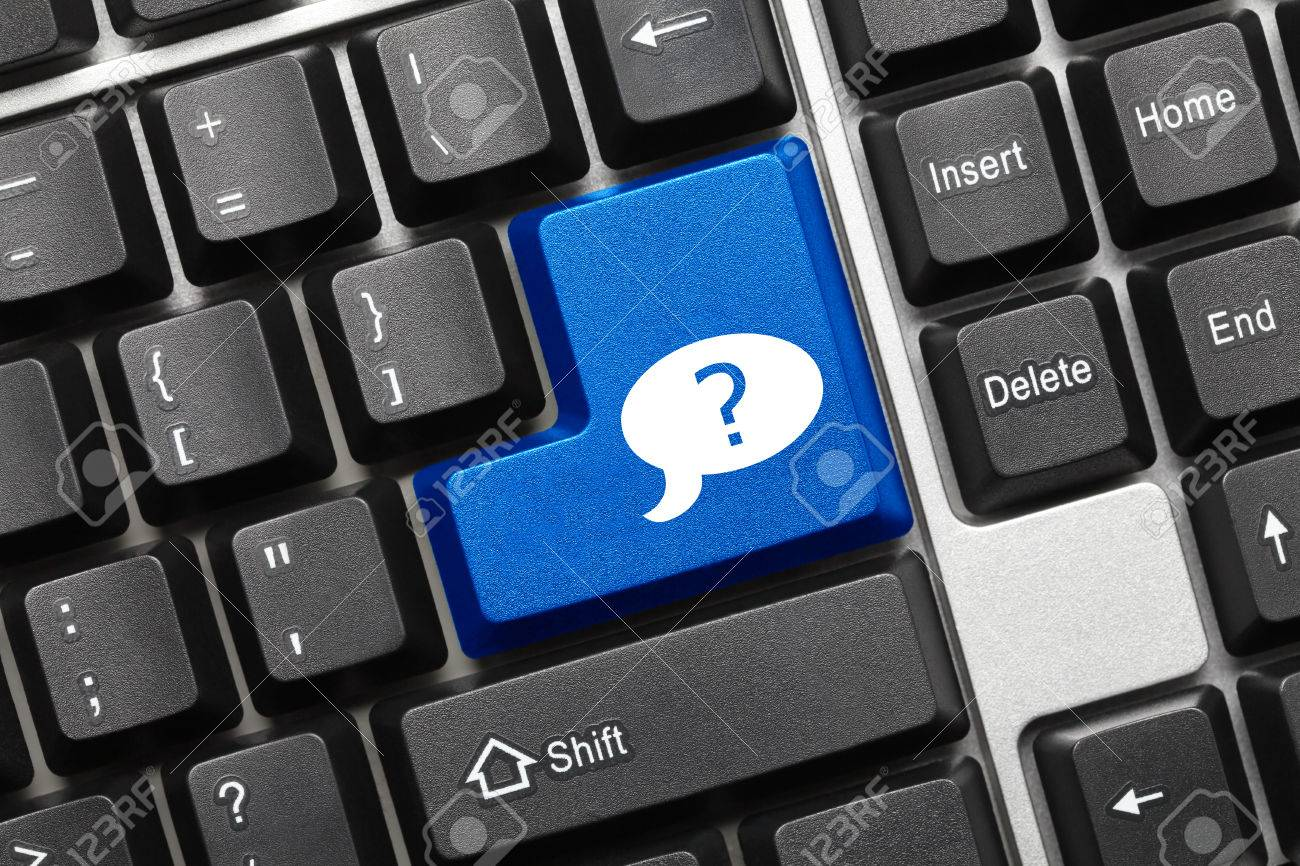 Close Up View On Conceptual Keyboard Blue Key With Question