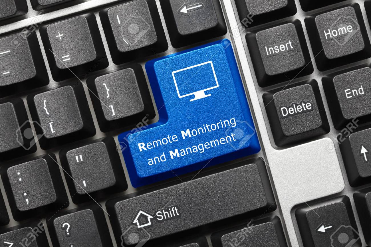 Close-up view on conceptual keyboard - Remote Monitoring and Management (blue key) - 103791218
