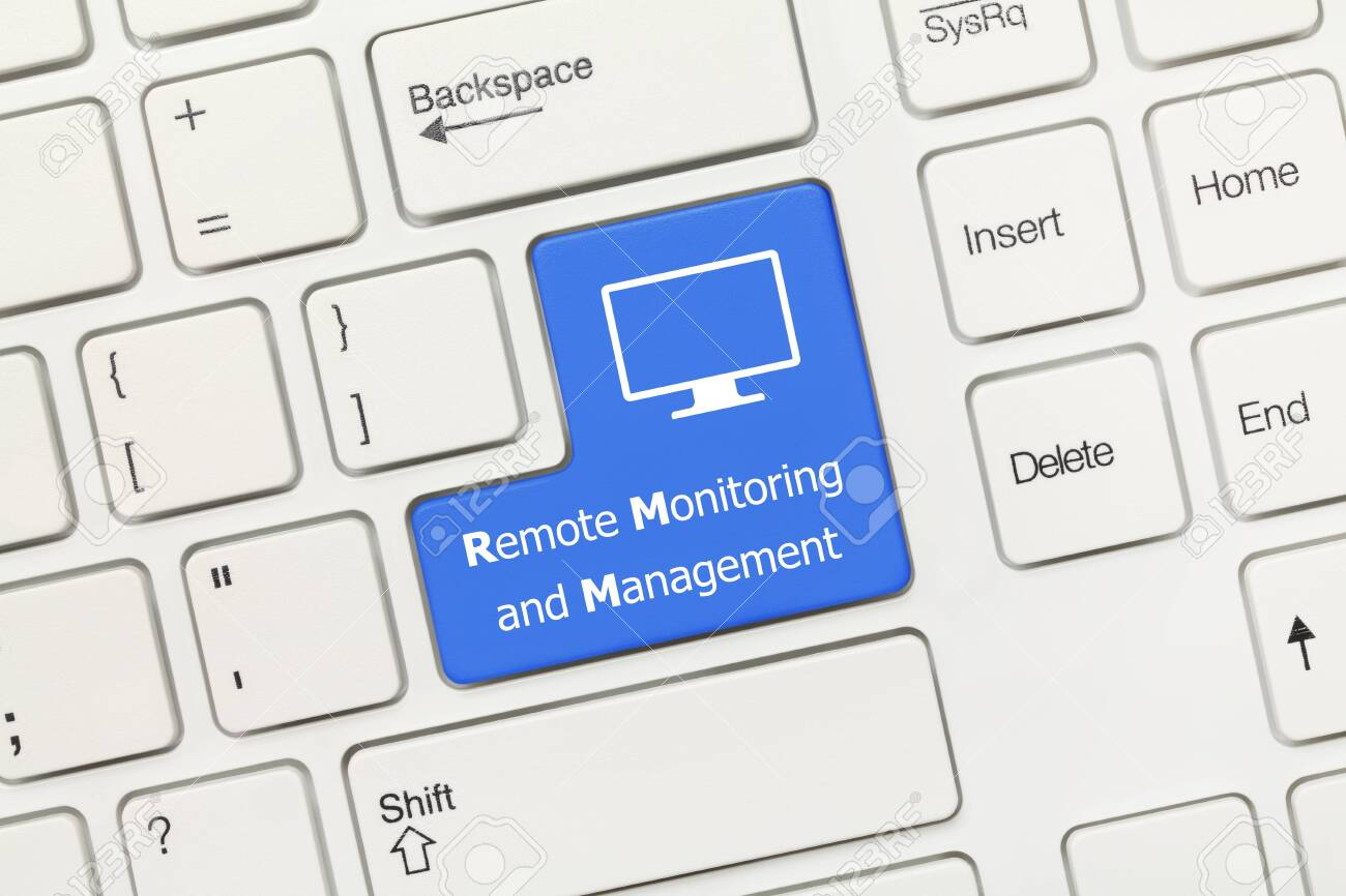 Close-up view on white conceptual keyboard - Remote Monitoring and Management (blue key) - 123830451