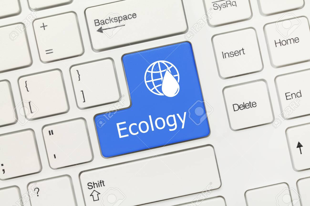 Close-up view on white conceptual keyboard - Ecology (blue key) - 126588360