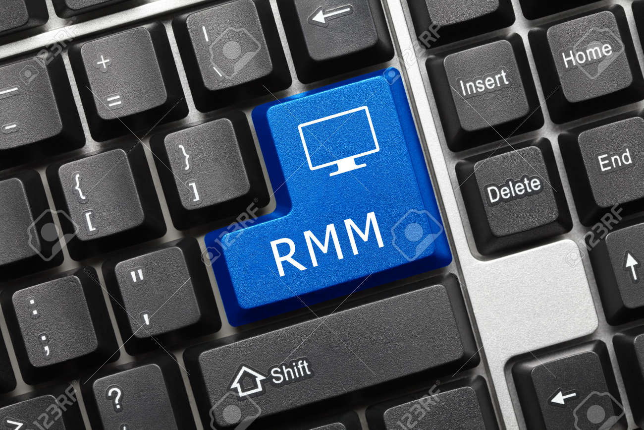 Close-up view on conceptual keyboard - RMM (blue key) - 145054902