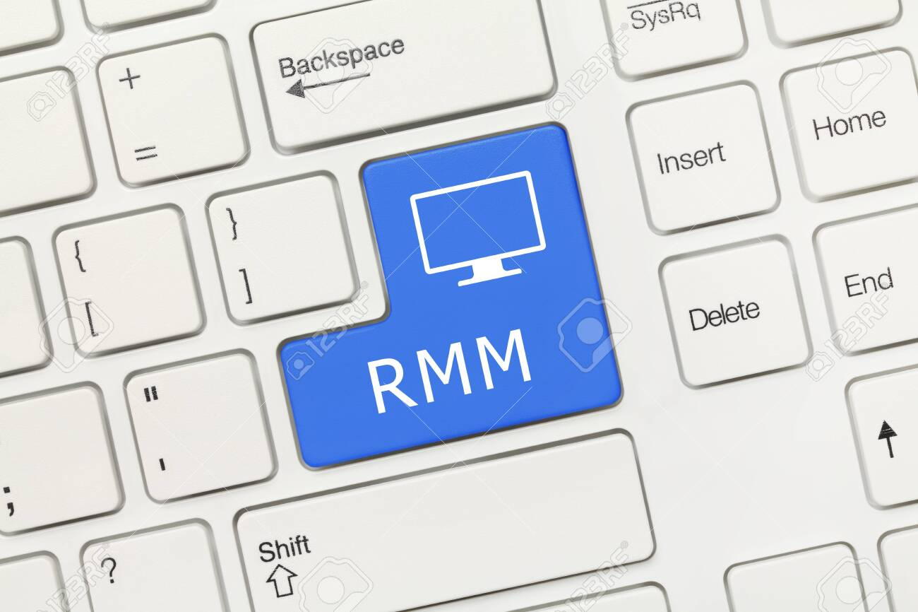 Close-up view on white conceptual keyboard - RMM (blue key) - 145054959