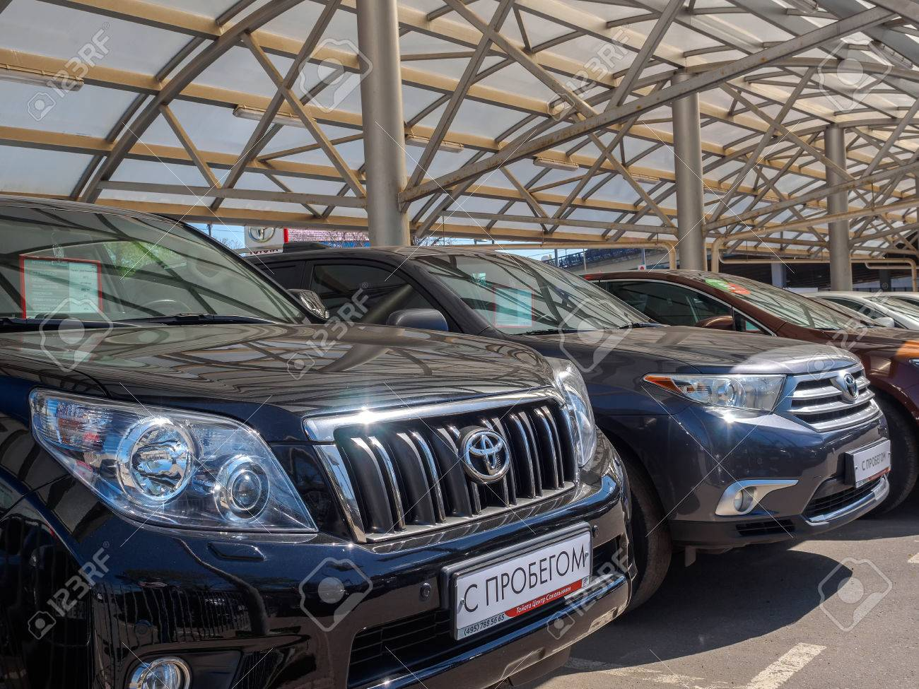 Used Car Parking For Sale. Trade In Cars. Russia, Moscow, May ...