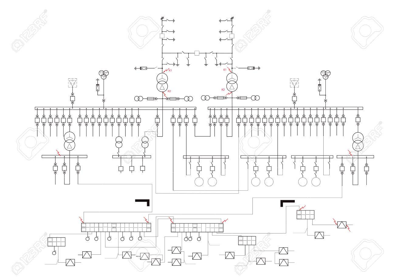 Schematic Diagram, Power Supply, Power Circuit. Vector Drawing ...