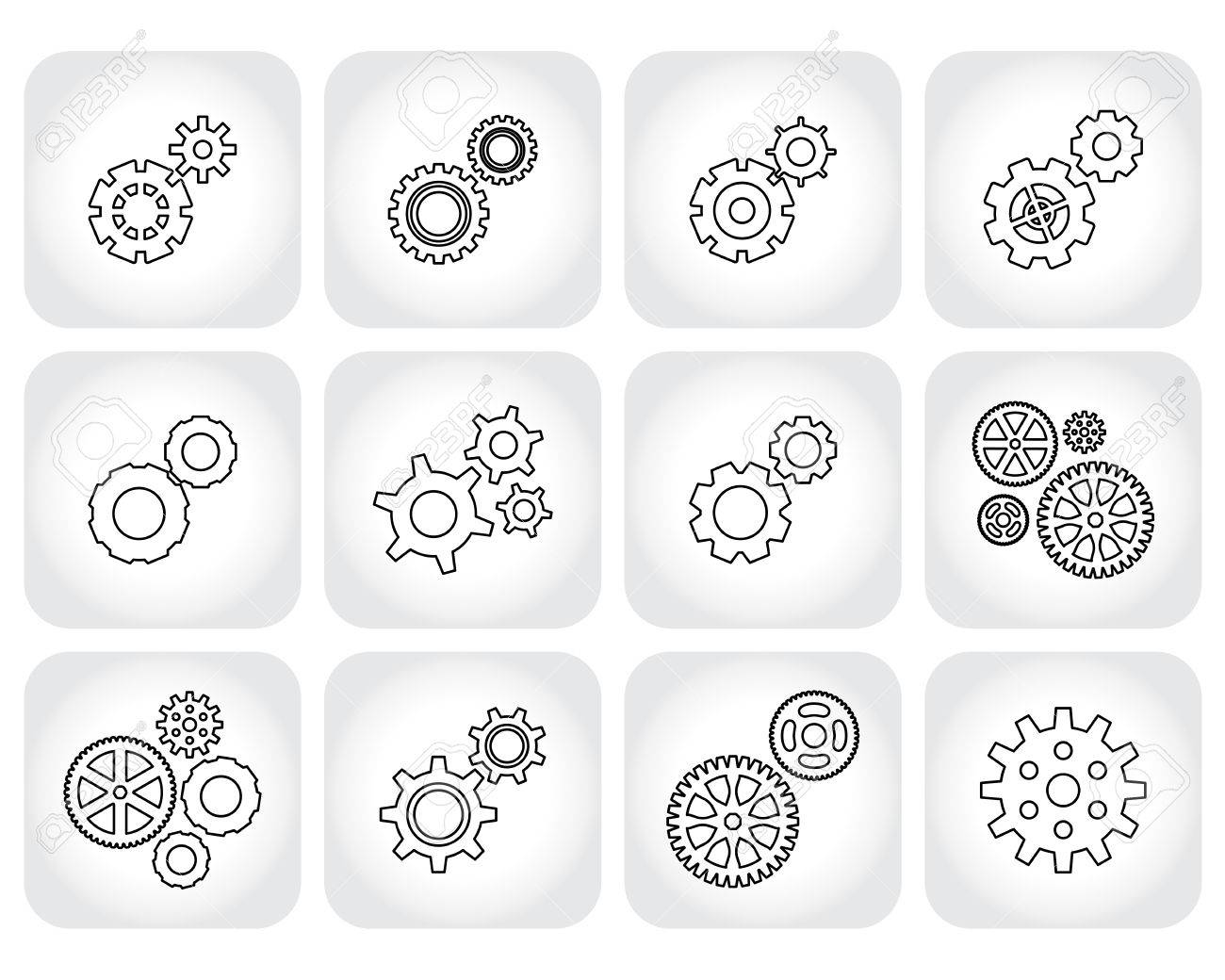 Simple gear cog wheel or settings icon set machine technology simple gear cog wheel or settings icon set machine technology equipment sciox Image collections