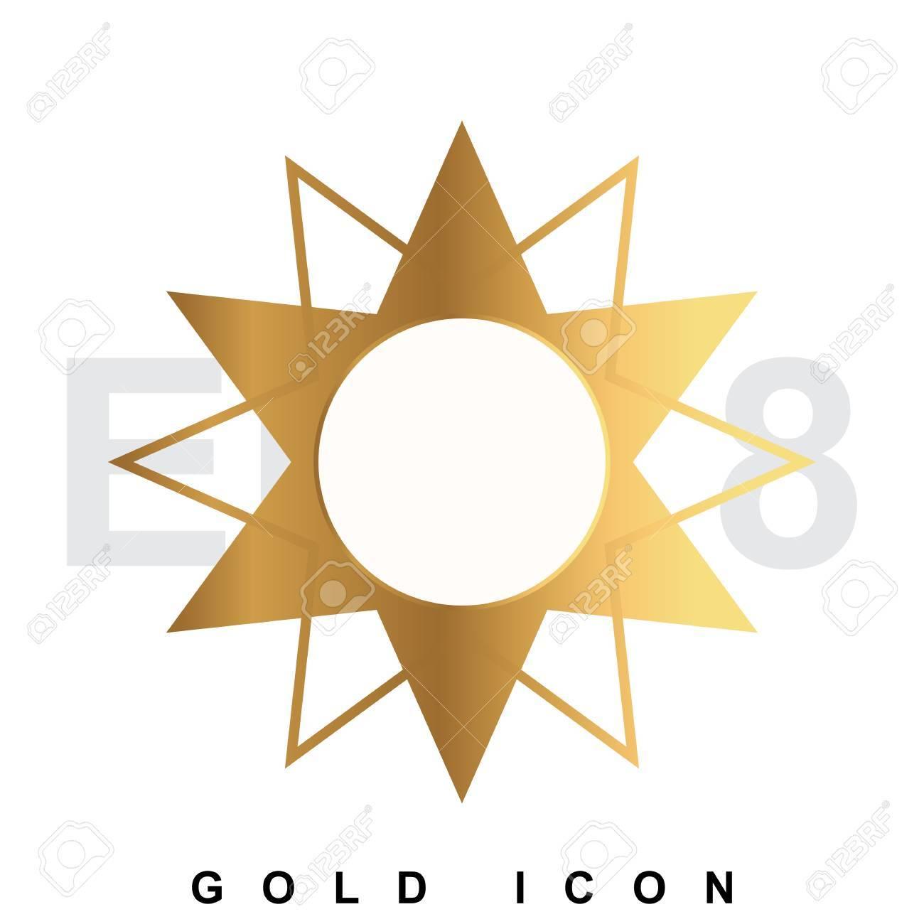 golden sun premium icon graphic web design element template rh 123rf com Free Vector Backgrounds free vector gold border
