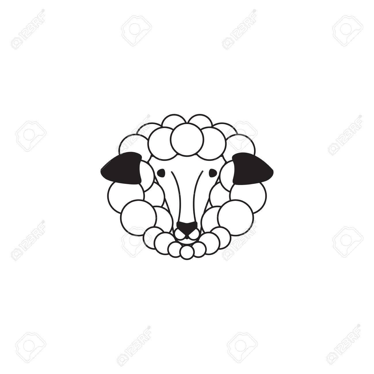 Vector Schafe Oder Ram Symbol Schablone Piktogramm Moderne Emblem