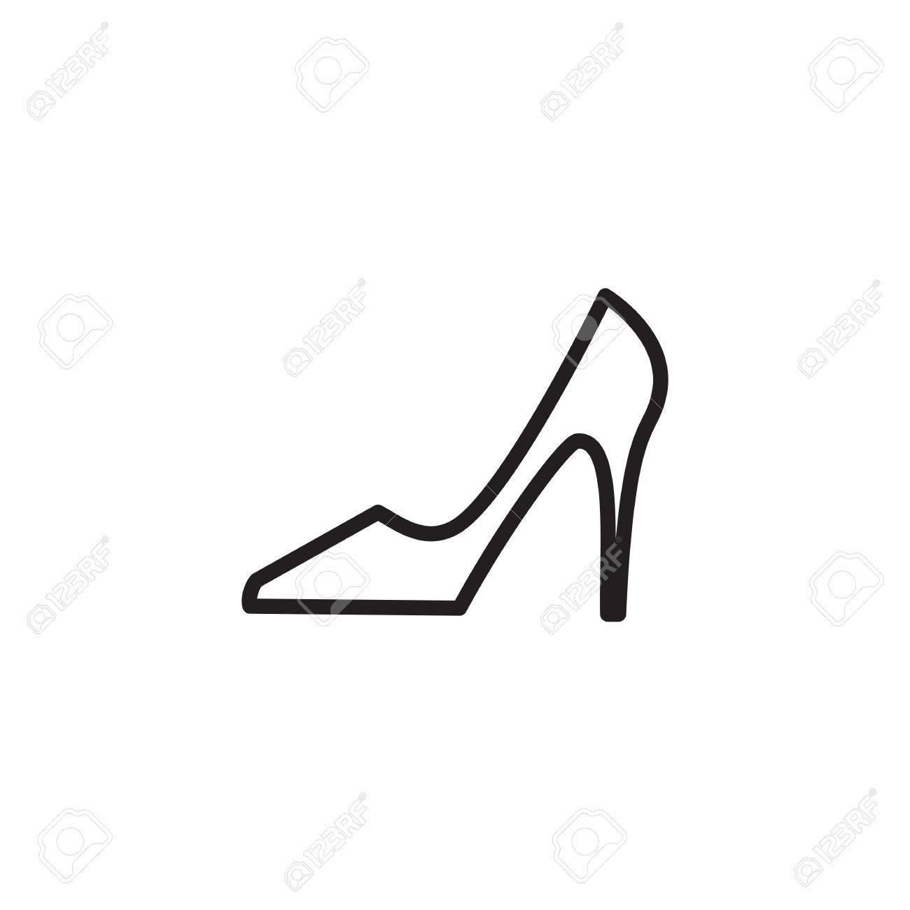 64b47e8f Foto de archivo - Zapatos de iconos de vectores. botas de logotipo o la  silueta de la mujer aislados. Calzado signo o símbolo