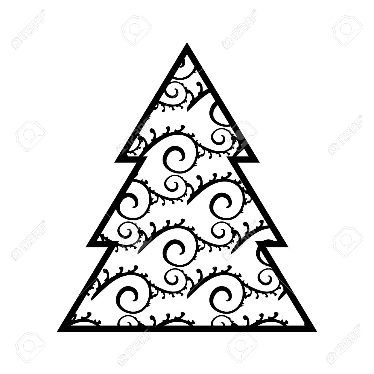 Simple Black Christmas Tree Icon With Abstract Pattern Isolated