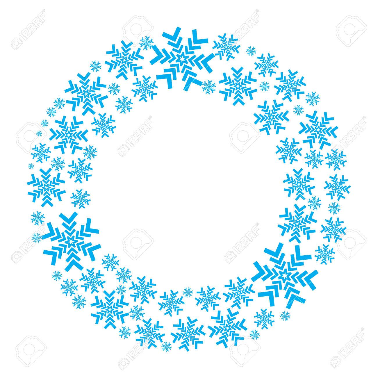 snowflake vector wreath isolated snow flake circle frame round