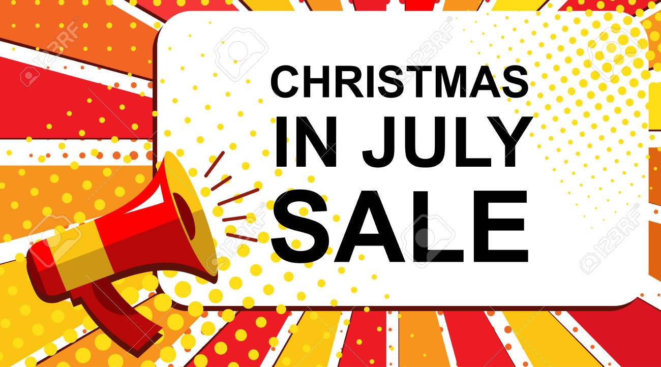 Christmas In July Free Graphics.Pop Art Sale Background With Megaphone And Christmas In July