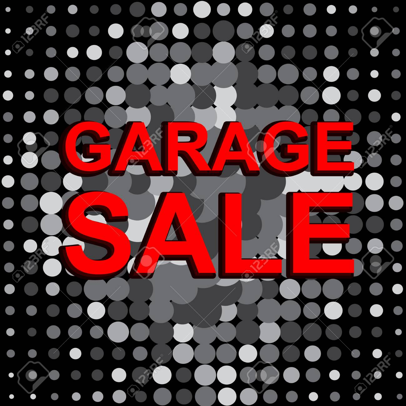 big sale poster with garage sale text advertising monochrome and red banner template stock vector