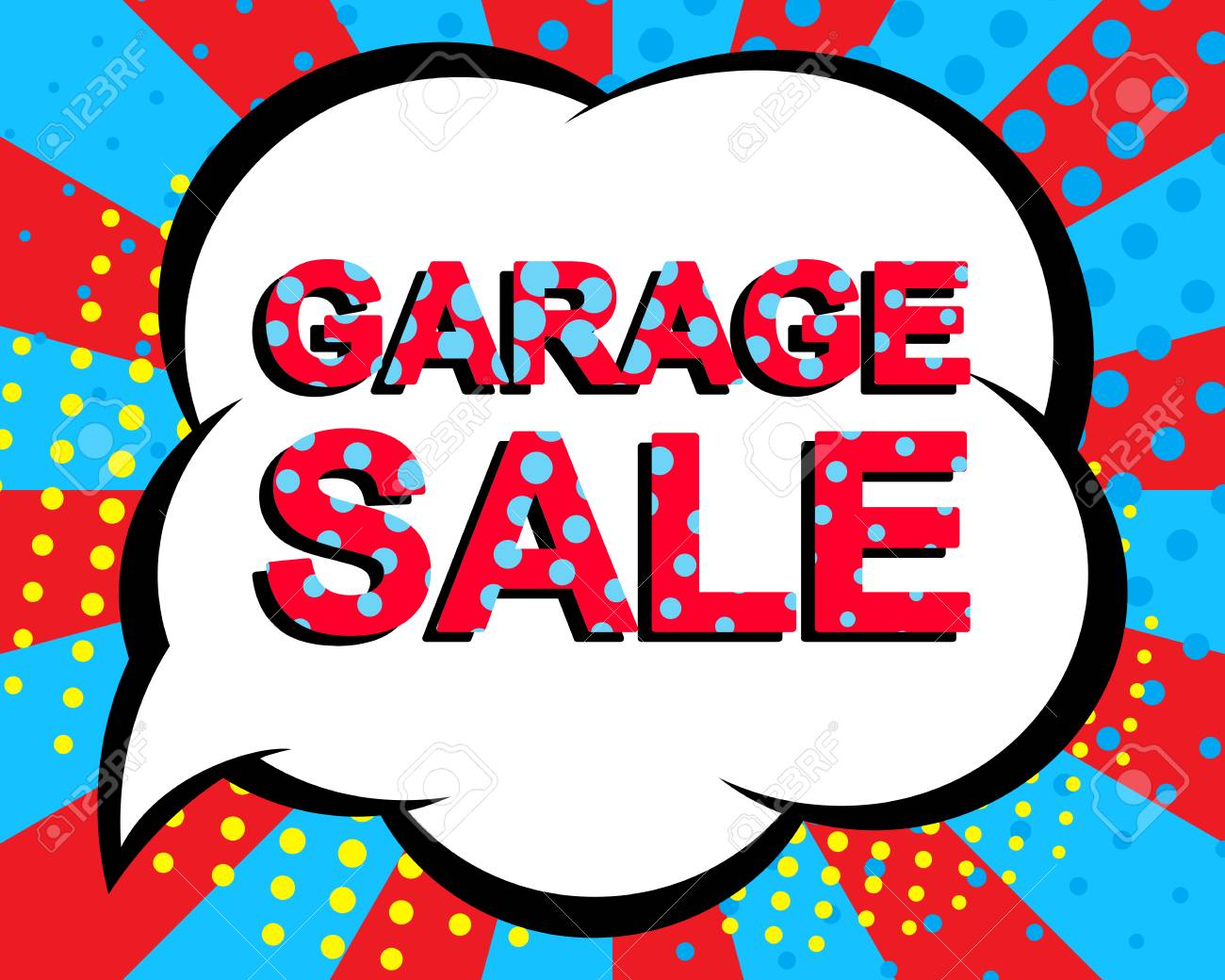 sale poster with garage sale text advertising blue and red banner template pop art