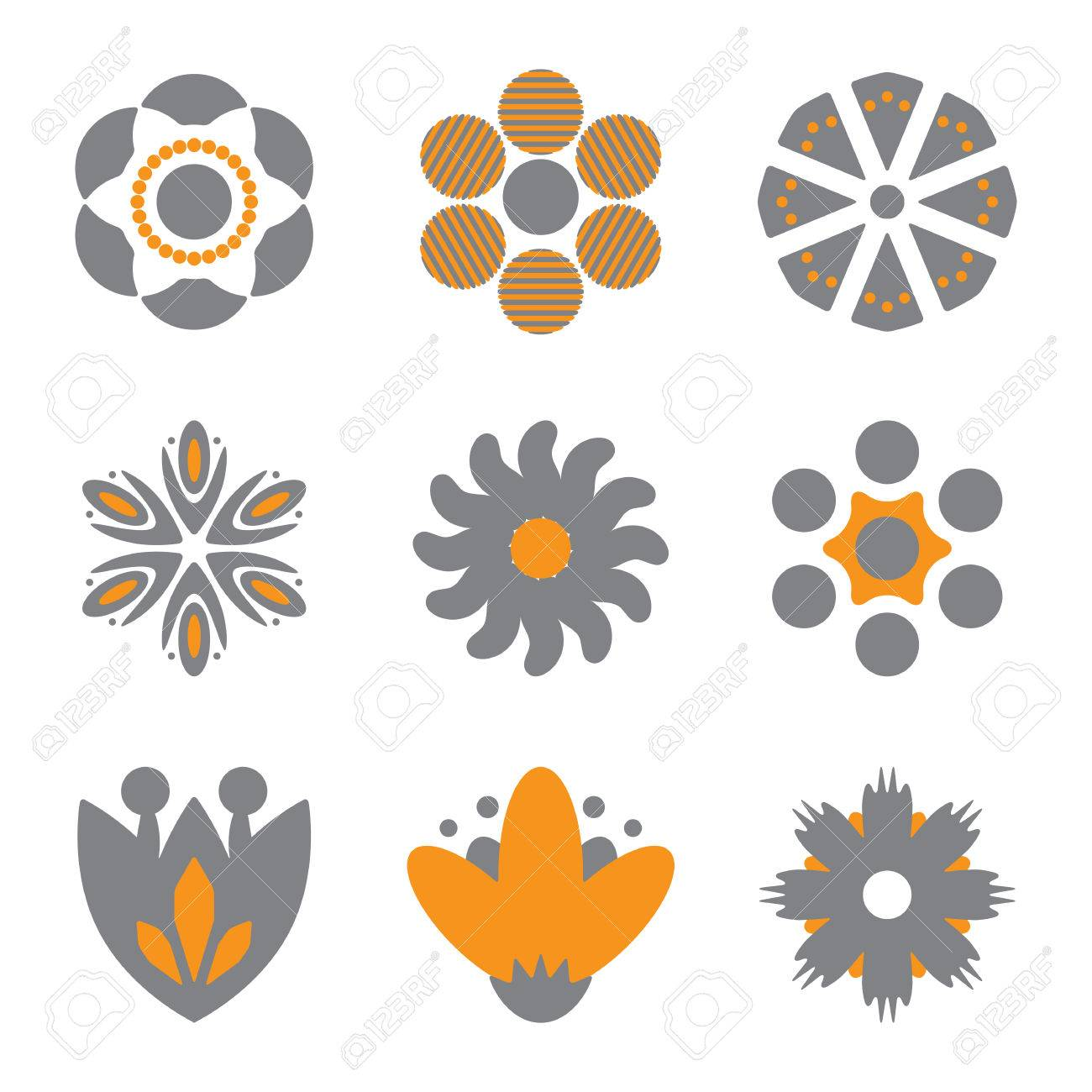Simple flower vector icons of different shapes spring and summer simple flower vector icons of different shapes spring and summer symbols collection stock vector biocorpaavc