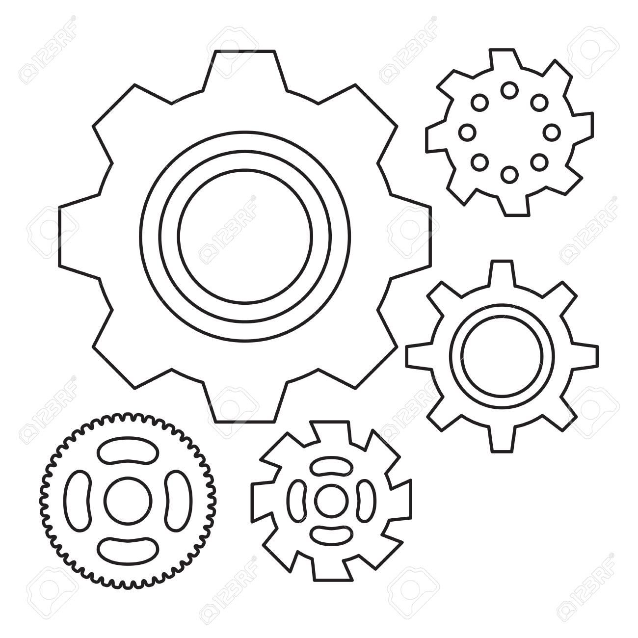 Einfaches Zahnrad Oder Zahnrad-Vektor-Ikone. Maschine, Technologie ...