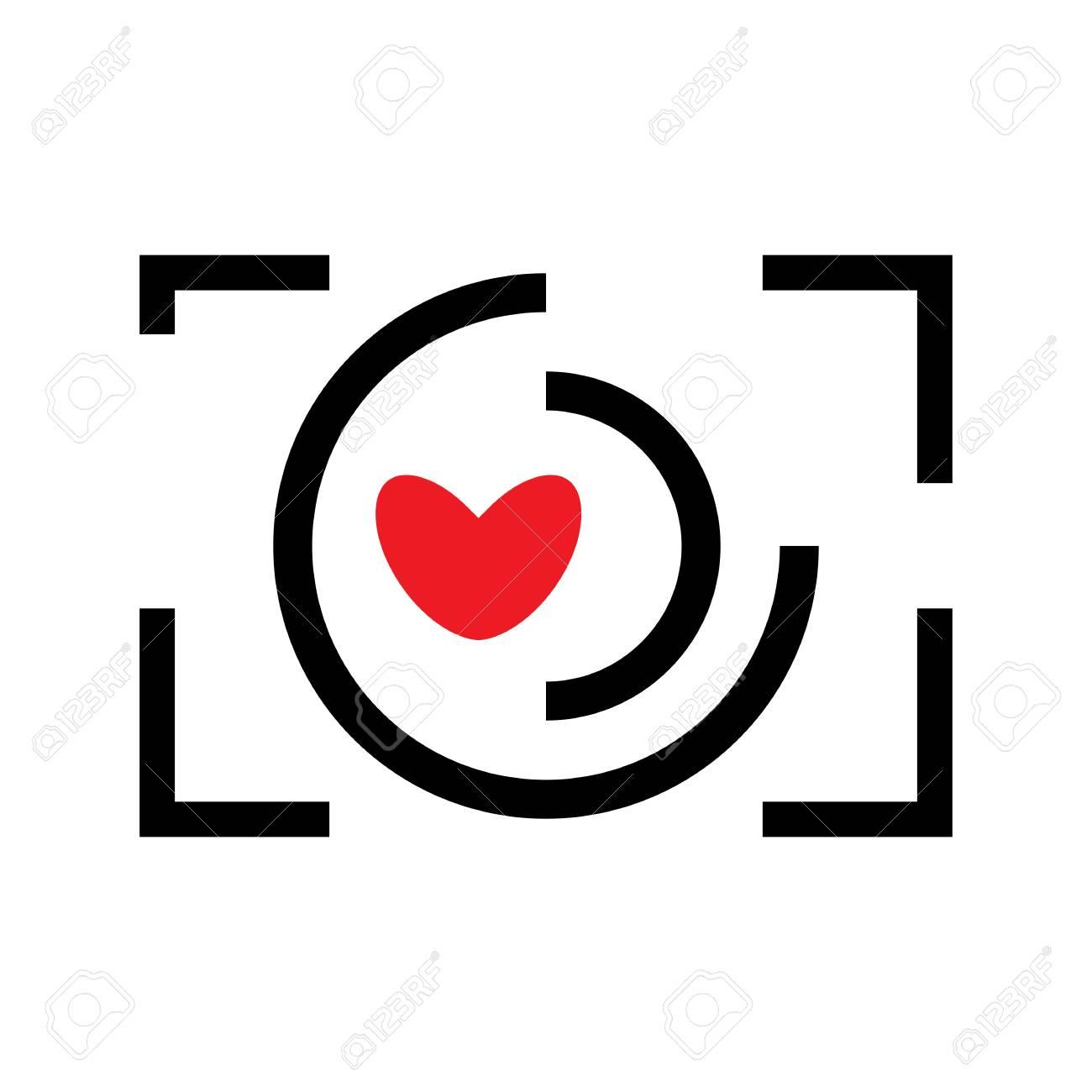 Digital Camera And Heart Vector Icon Snapshot Photography Sign