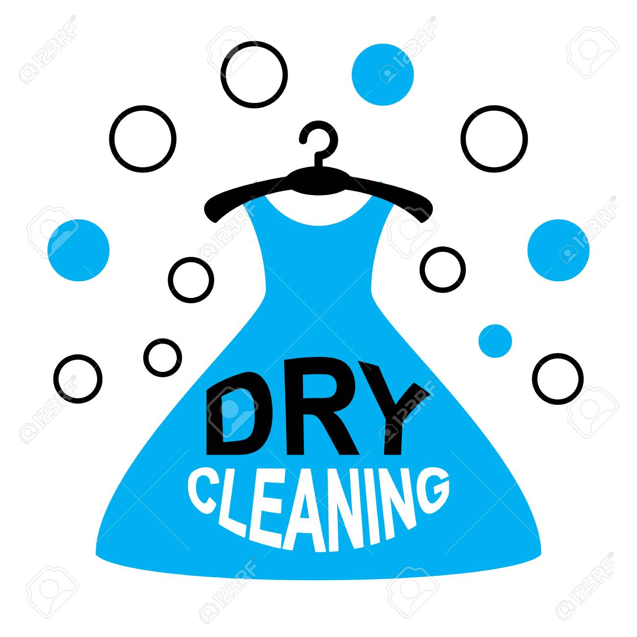 Dry Cleaning Vector Logo With A Hanger And Dress Isolated On ...