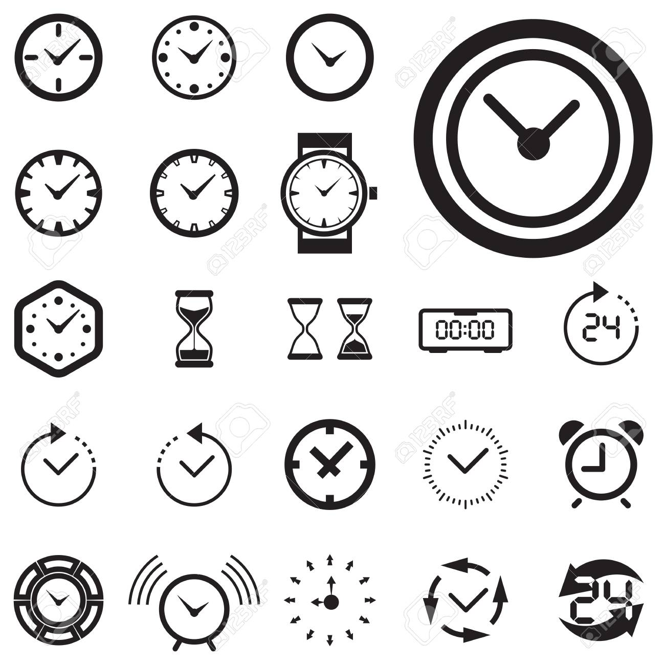 Clock Icon Isolated. Time Logo, Template, Pictogram. Trendy Watch ...