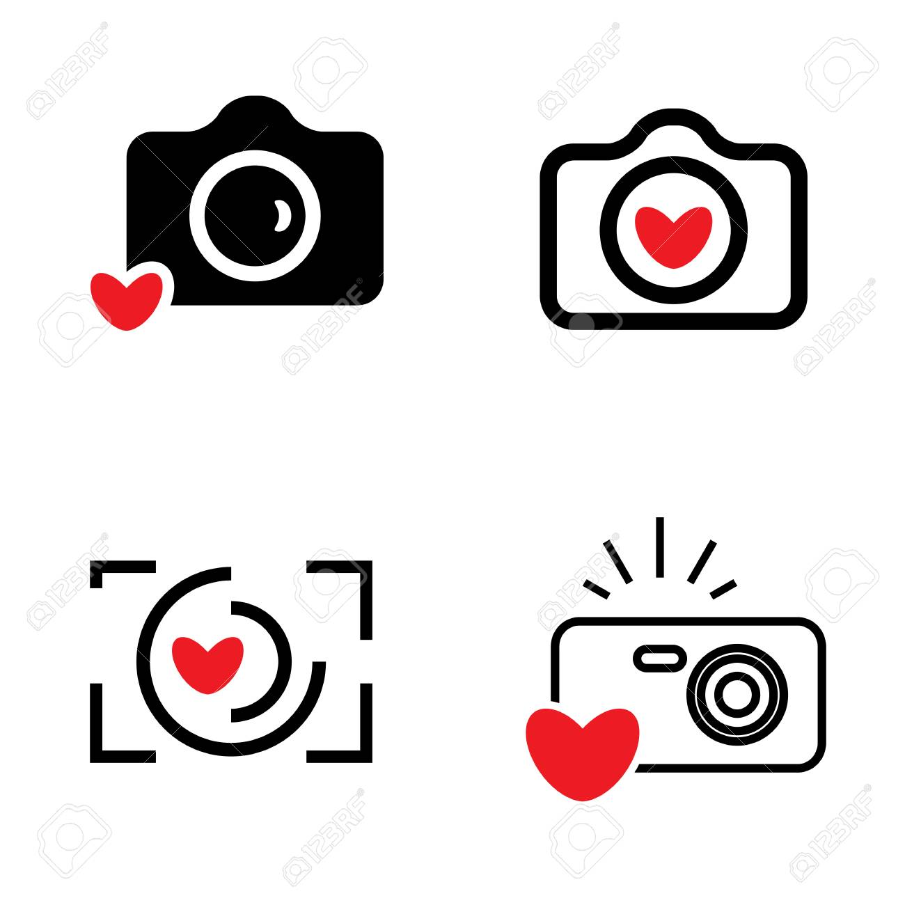 Digital Camera And Heart Icons Isolated Snapshot Photography