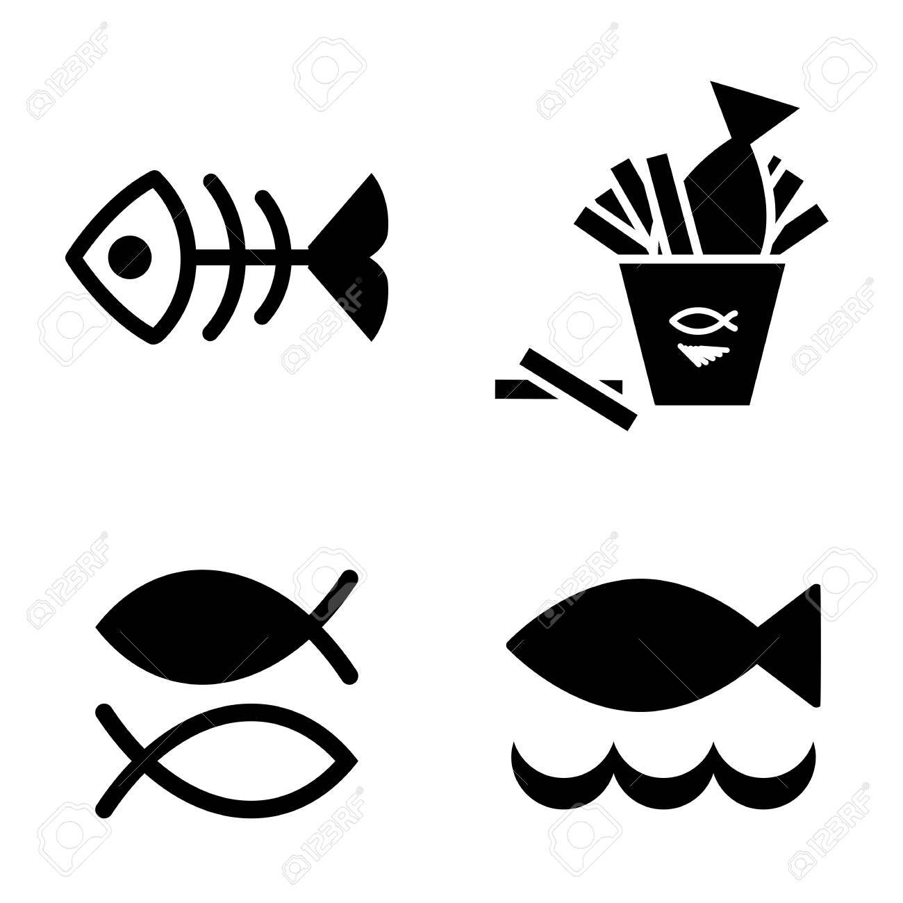 set of fish vector icon isolated fishing or seafood template