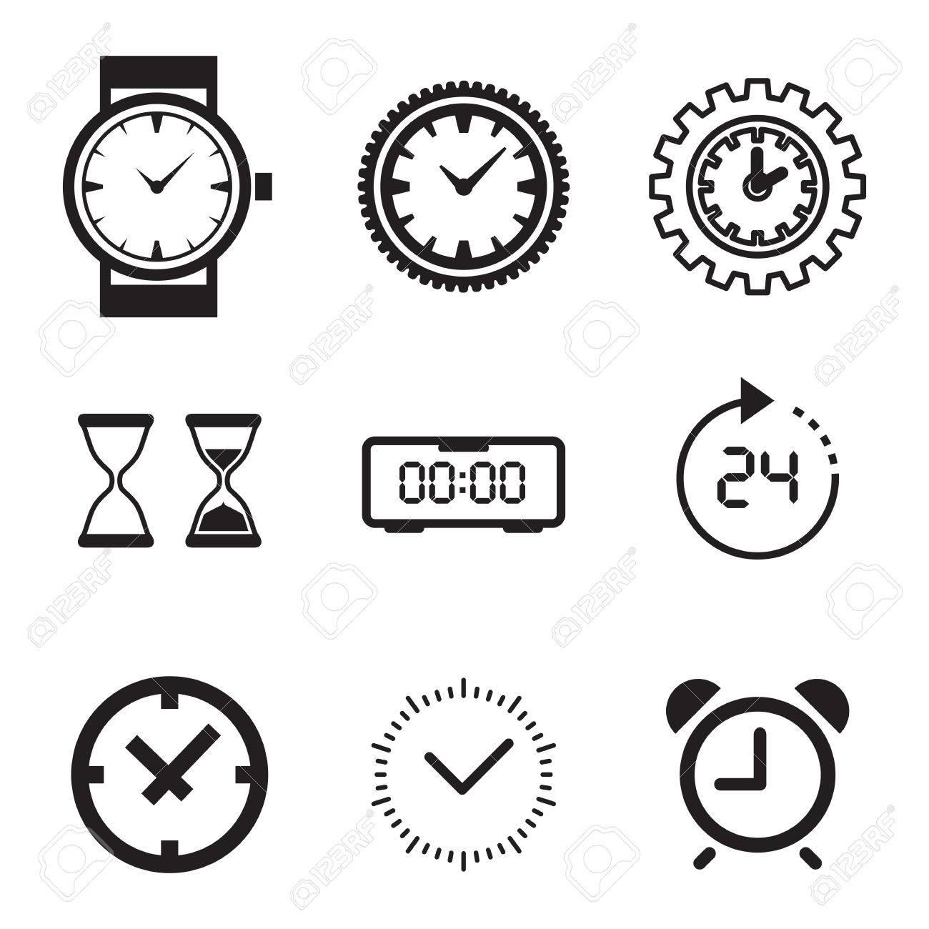 Icono De Reloj Aislado. Tiempo Logotipo, Plantilla, Pictograma ...