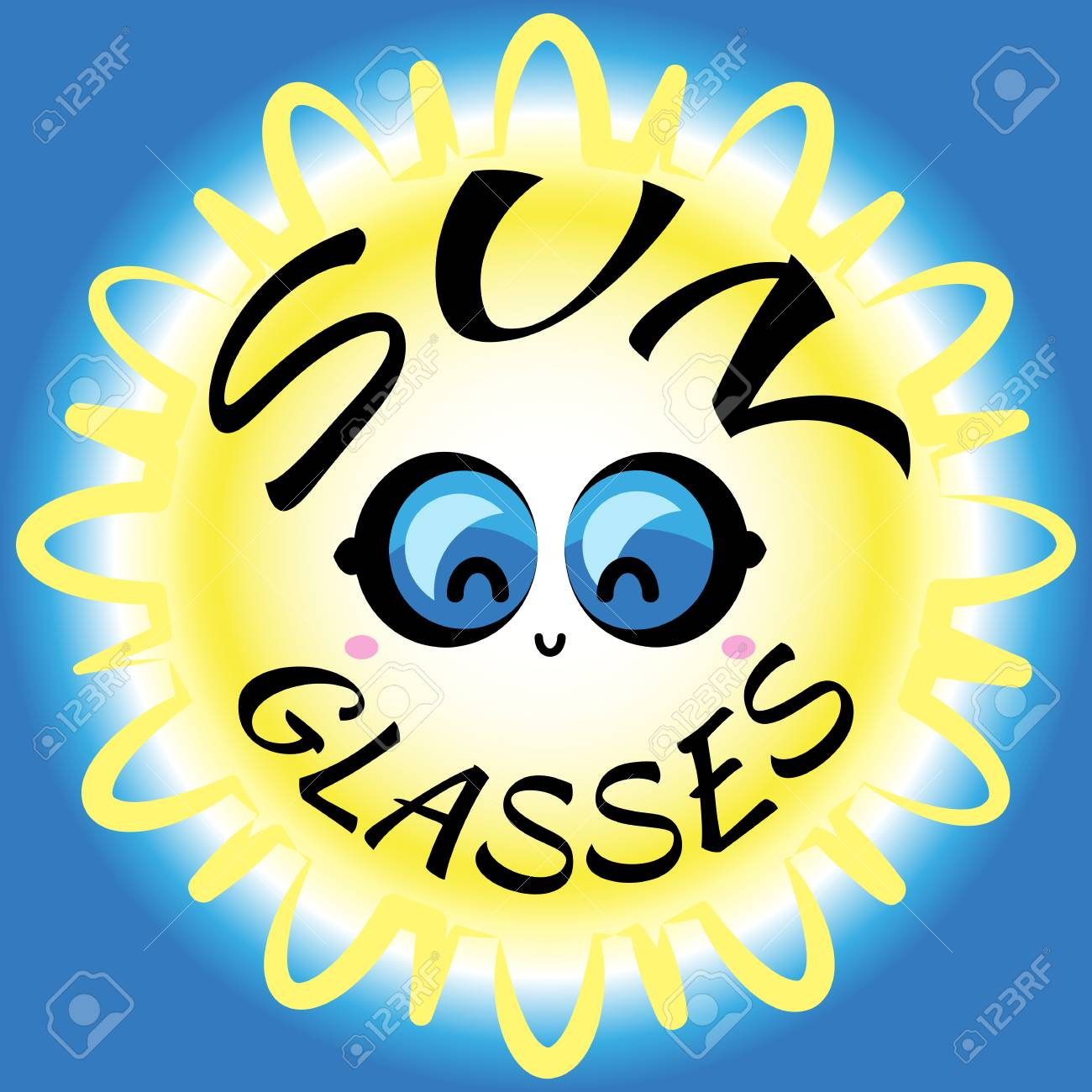 Cute Vector Sun Glasses For Web Or Sale Design. Hot Summer Symbol ...