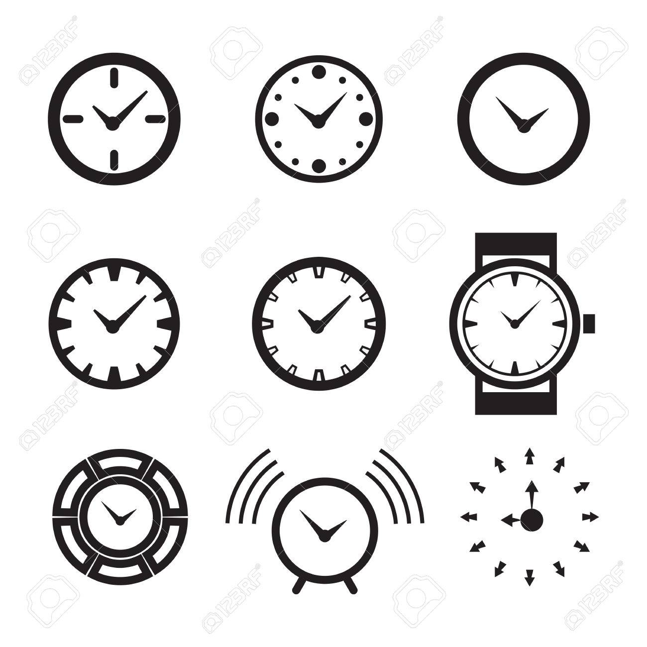 clock icon isolated time logo template pictogram trendy watch