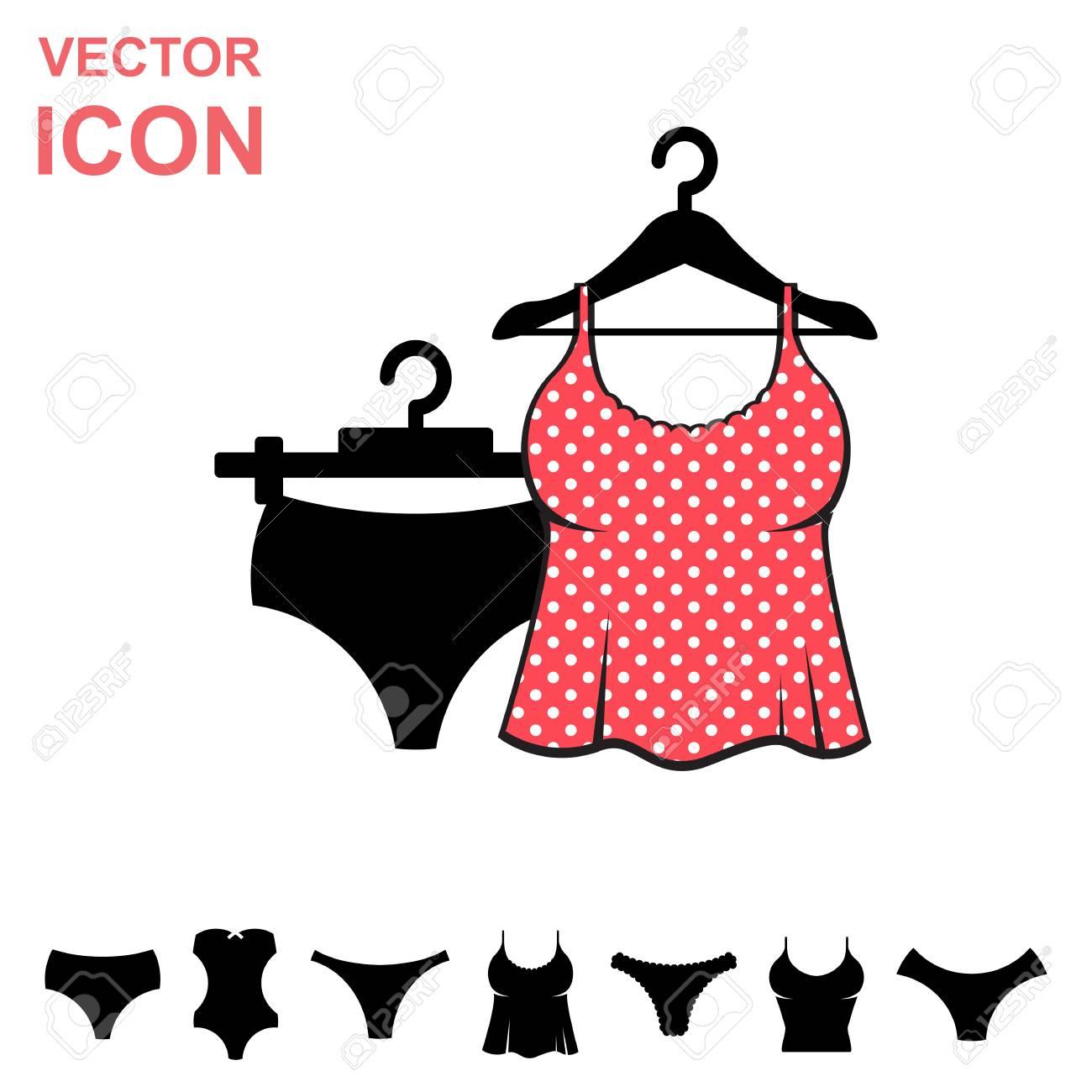 7f5fb249949c Conjunto de lencería vector icono sobre fondo blanco. Colección moderna de  la ropa interior de la juventud