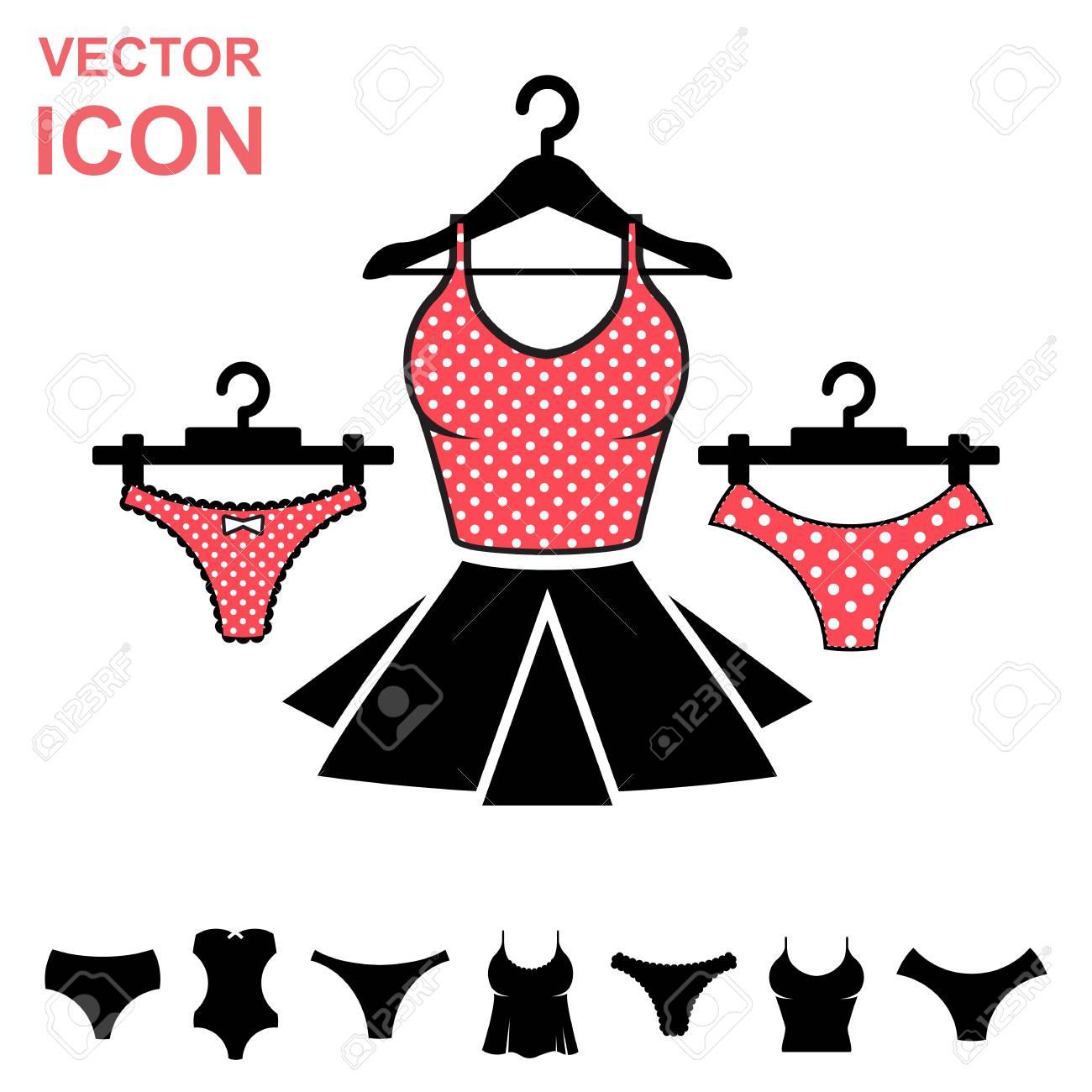 415c67d7551a Conjunto de lencería vector icono sobre fondo blanco. Colección moderna de  la ropa interior de la juventud