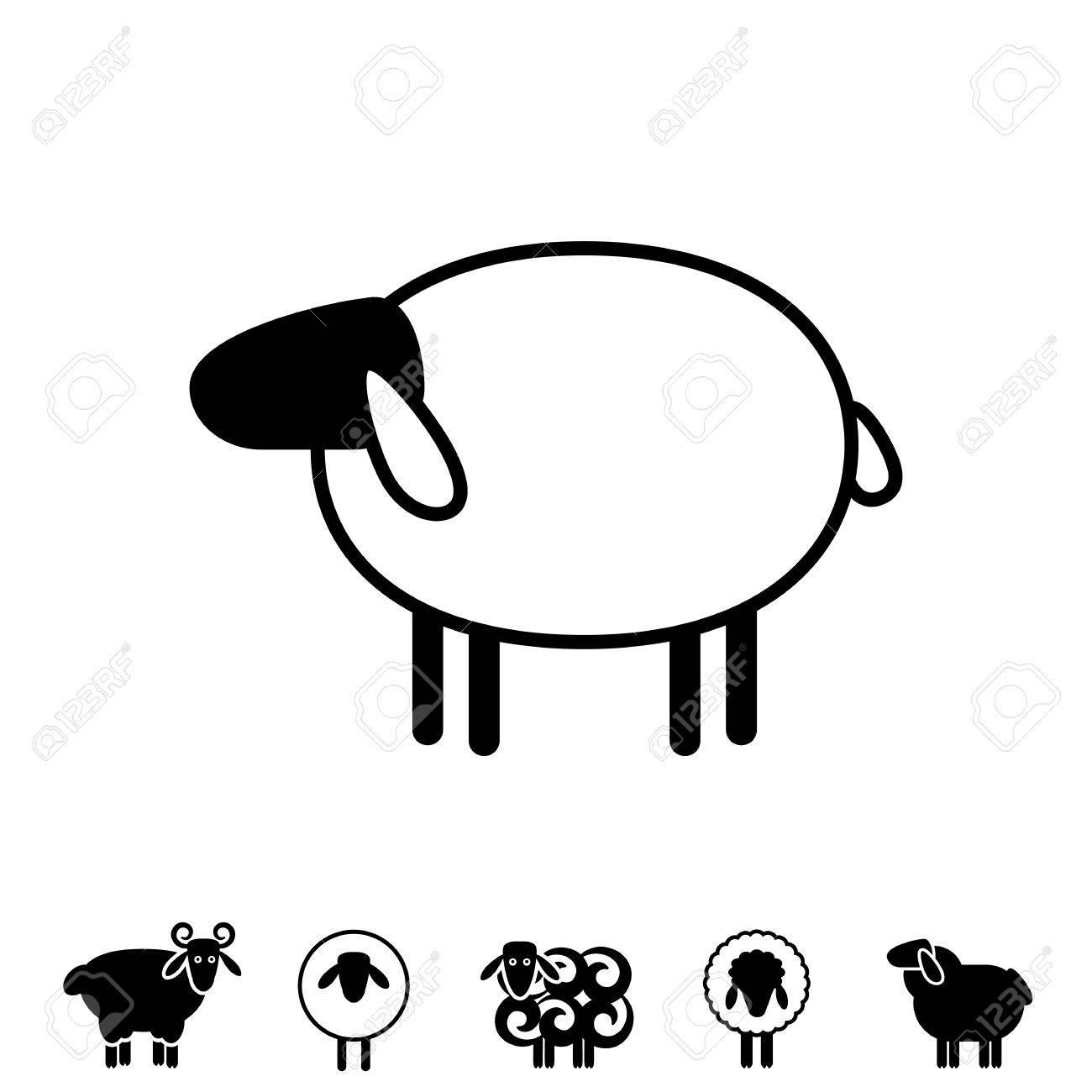 Icono De Ovejas O Ram, Logotipo, Plantilla, Pictograma. Símbolo De ...