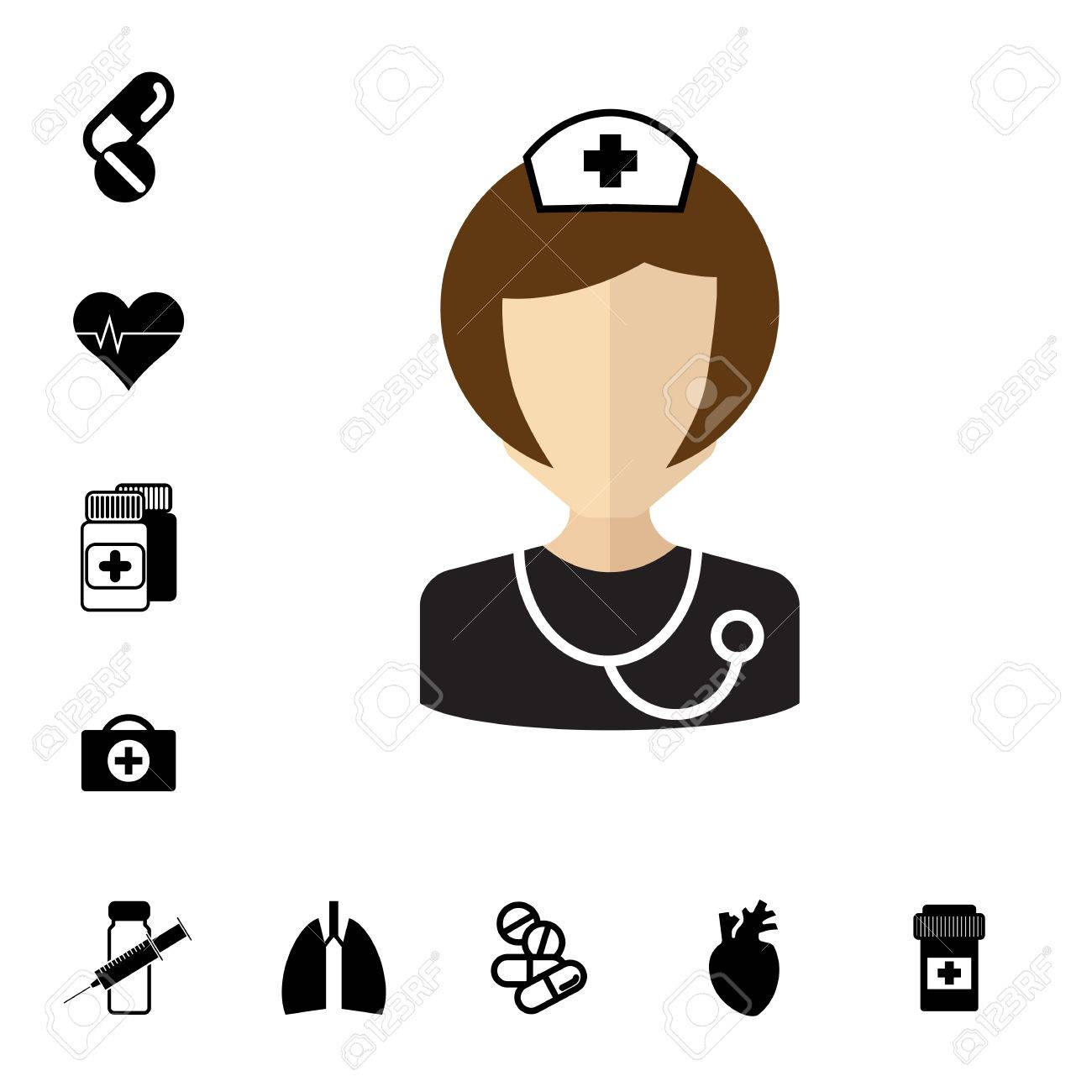 Doctor icon isolated nurse vector symbol medical specialist nurse vector symbol medical specialist avatar and set of pill or biocorpaavc