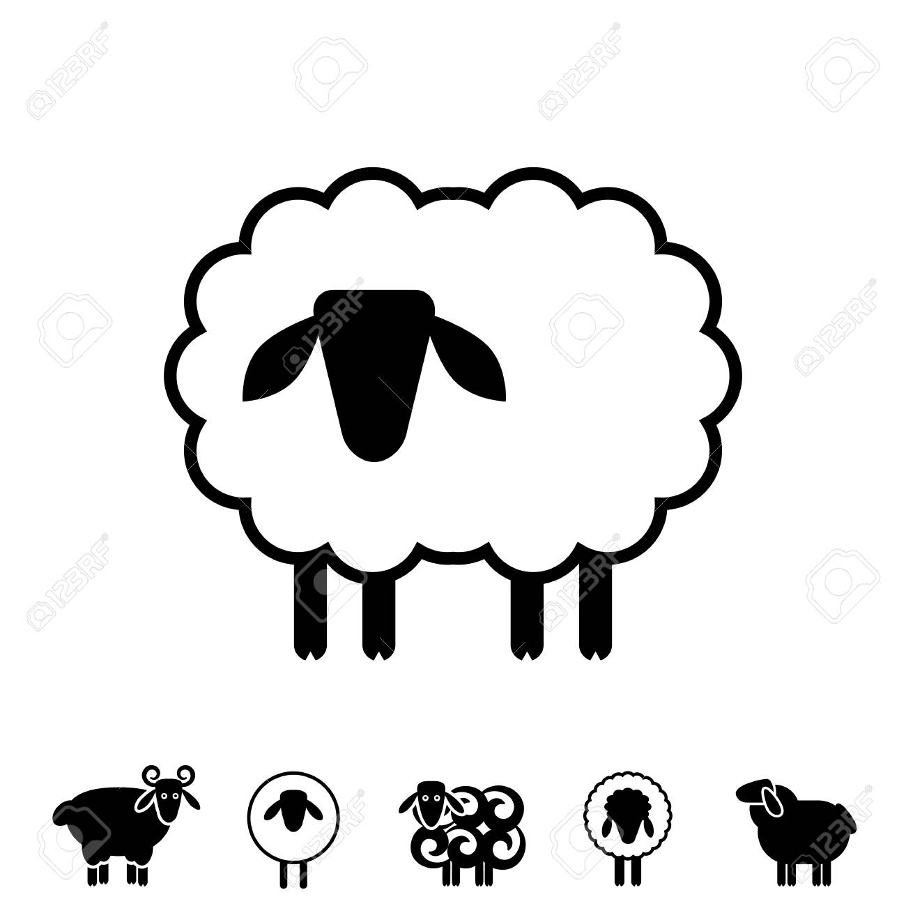 Sheep or Ram Icon, Logo, Template, Pictograph