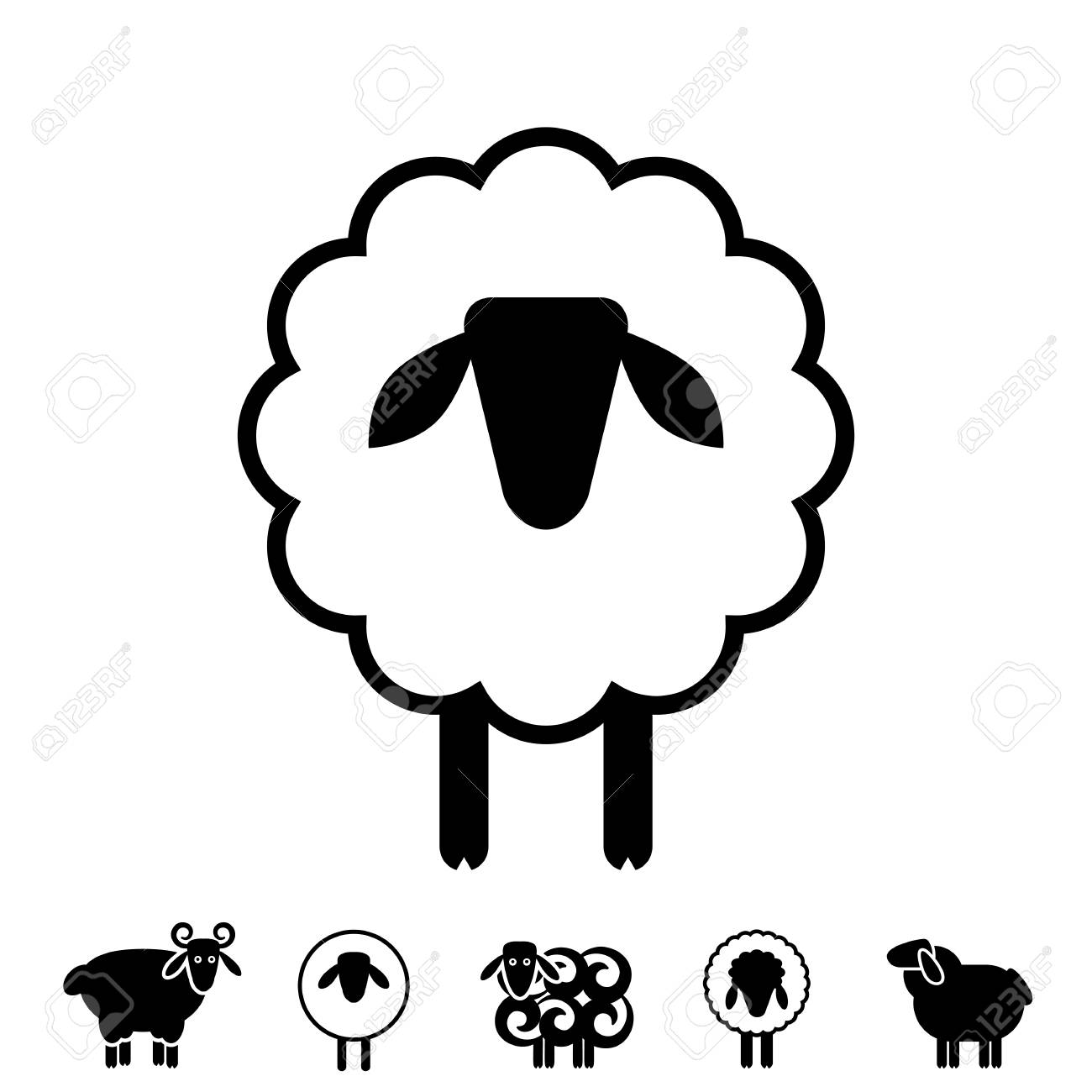 Sheep or Ram Icon, Logo, Template, Pictogram  Trendy Simple Lamb