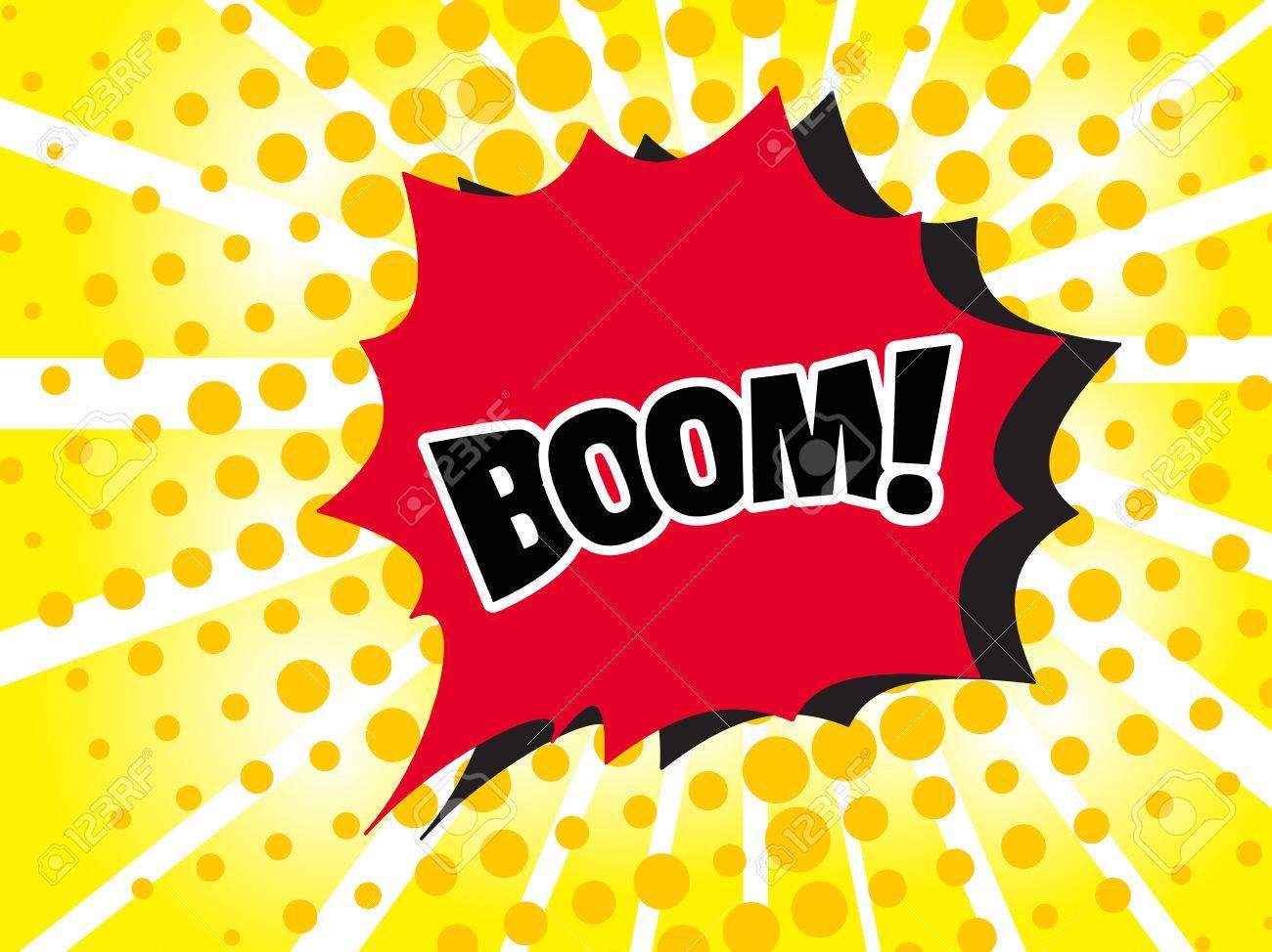 Comic boom text sound effect  Popart bubble speech cartoon background