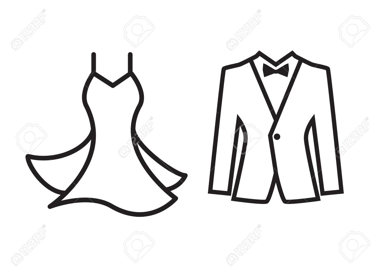 Dress and suit icon isolated on white background formal suit dress and suit icon isolated on white background formal suit symbol married couple logo biocorpaavc Gallery