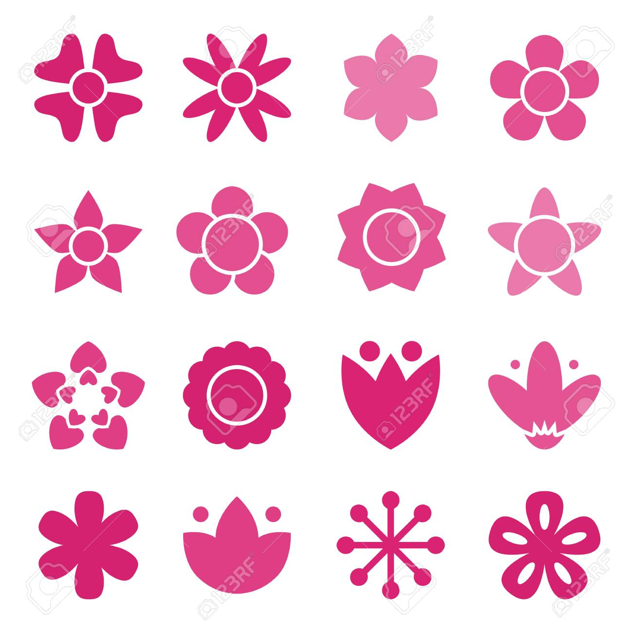 Flower icon collection in flat style daisy symbol or logo flower icon collection in flat style daisy symbol or logo template pictogram biocorpaavc Choice Image