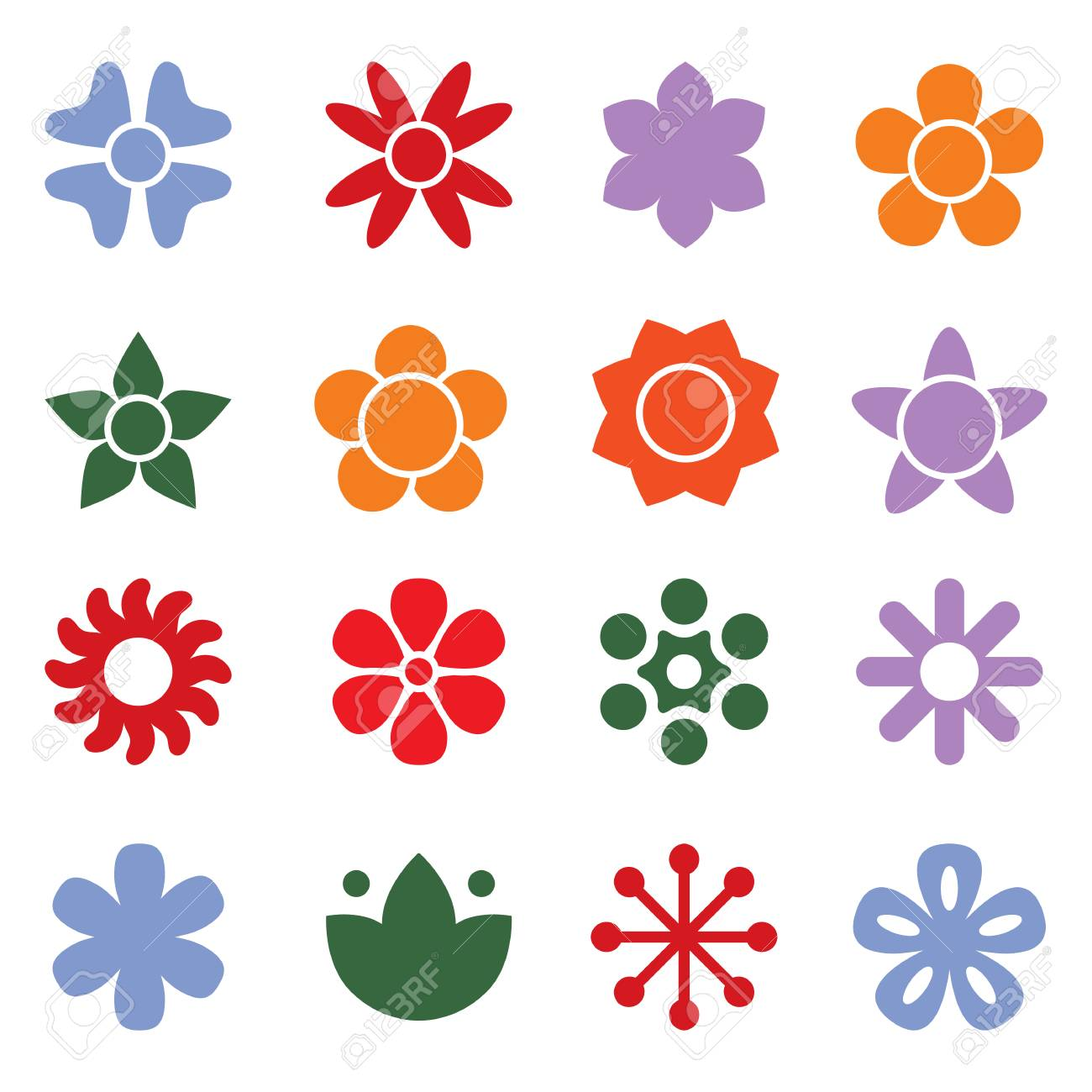 flower icon collection in flat style daisy symbol or logo template