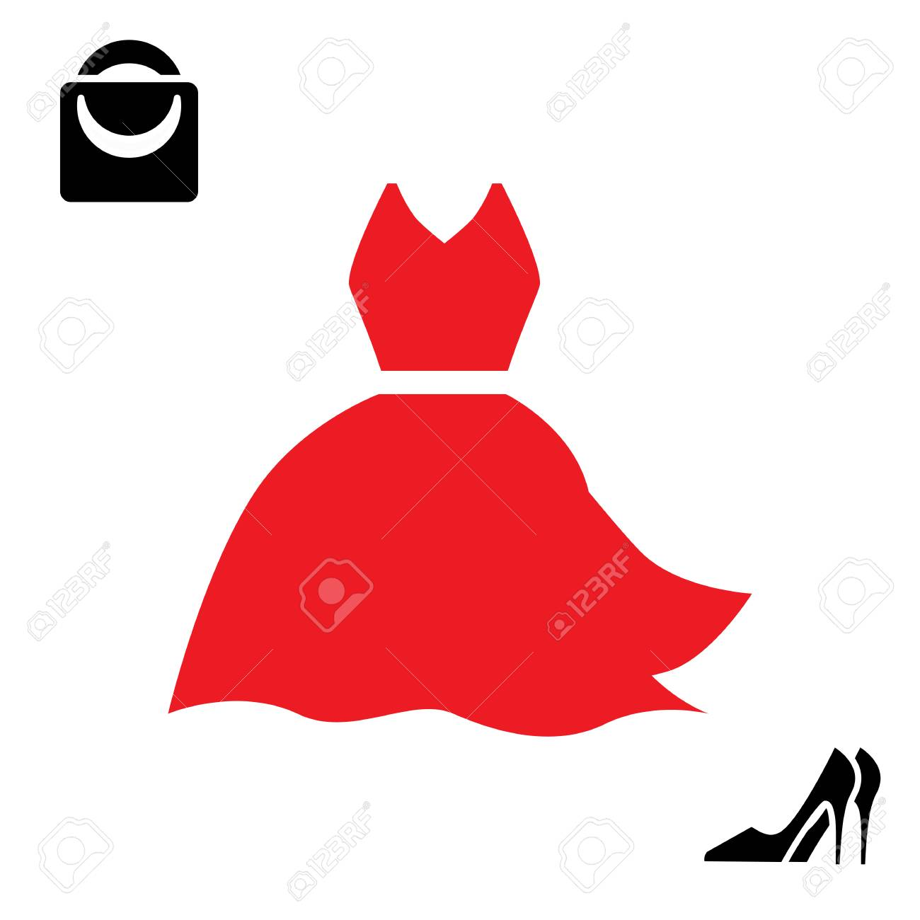 Woman Red Dress And Shoes Icon Isolated On White Background