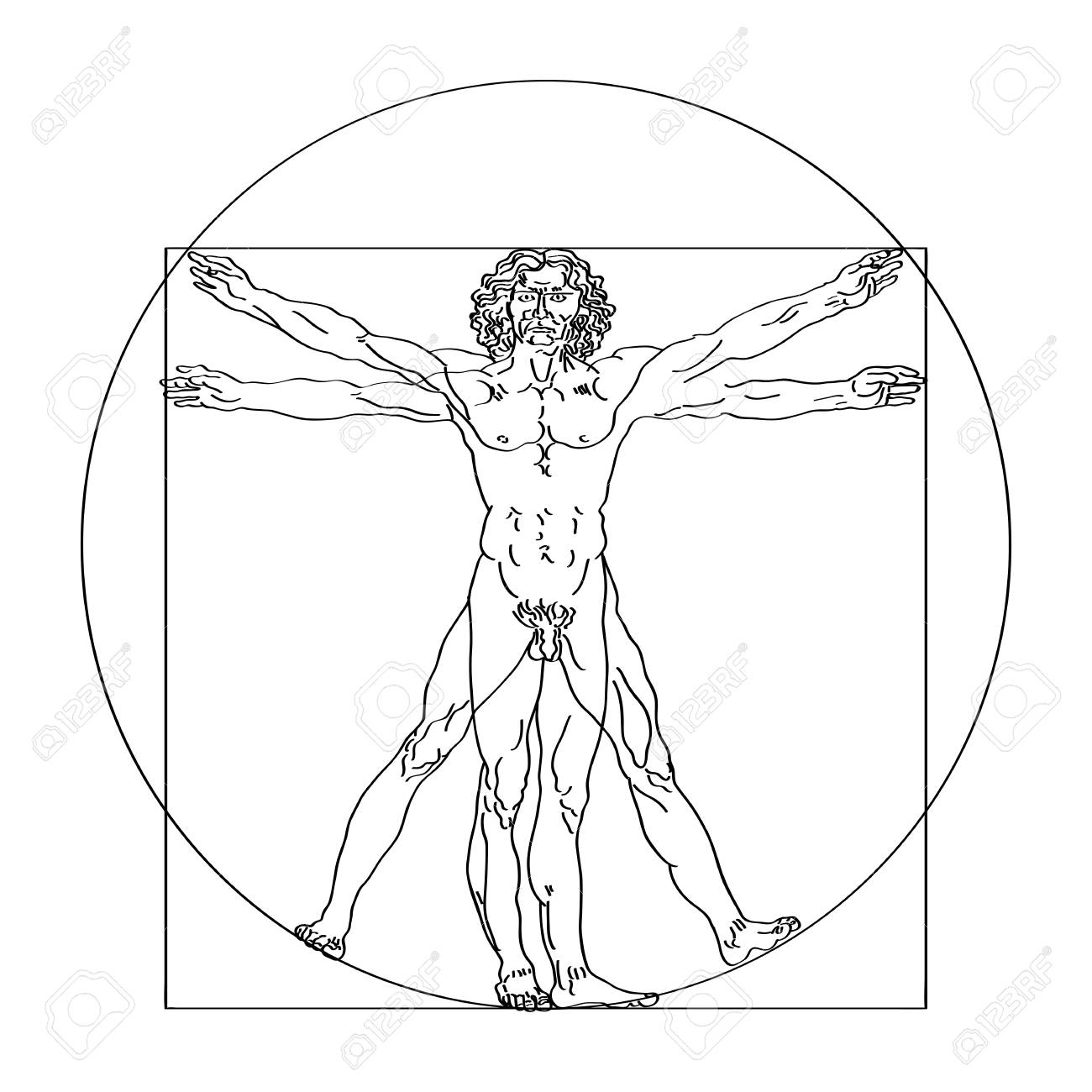 Stylized sketch of the Vitruvian man or Leonardo's man. Homo vitruviano vector illustration based on Leonardo da Vinci artwork - 105020727