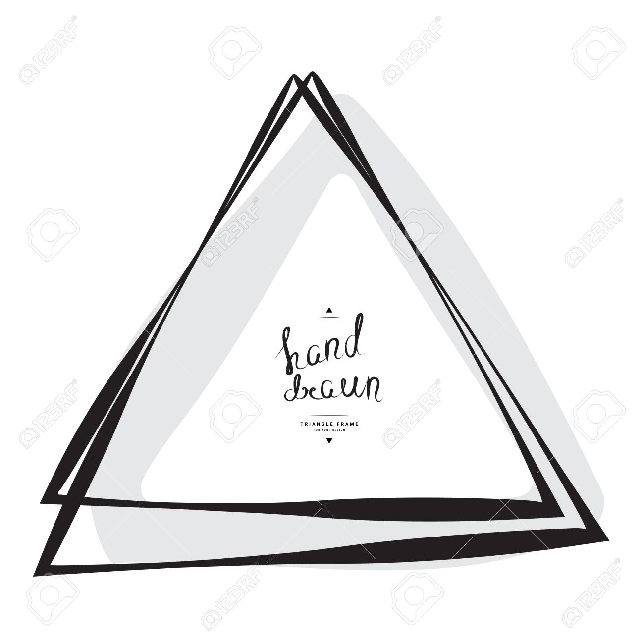 Hand Drawn Triangle Frame With Place For Text Isolated On White ...