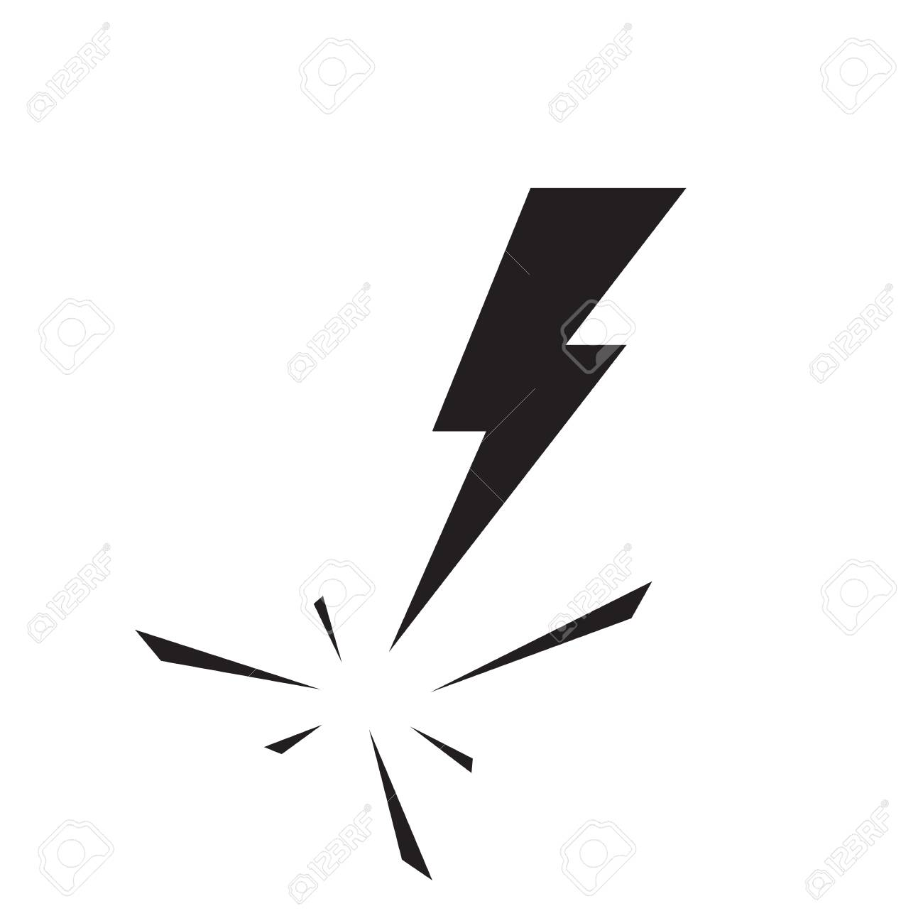 Black Lighting Strike Simple Vector Icon Isolated. Battery Charger ...