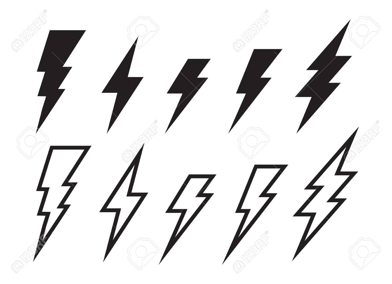 22 Lighting Strike Simple Vector Icon Isolated. Battery Charger ...