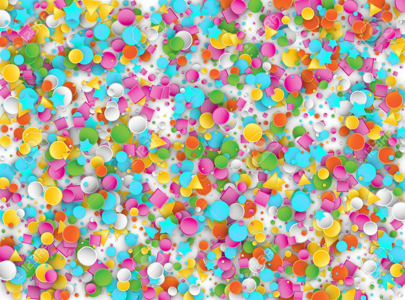 Colored Carnaval Confetti Explosion Background with Stars, Squares, Triangles, Circles. Abstract Geometric Shapes 3d Vector Pattern for Birthday and Party Design - 122120328