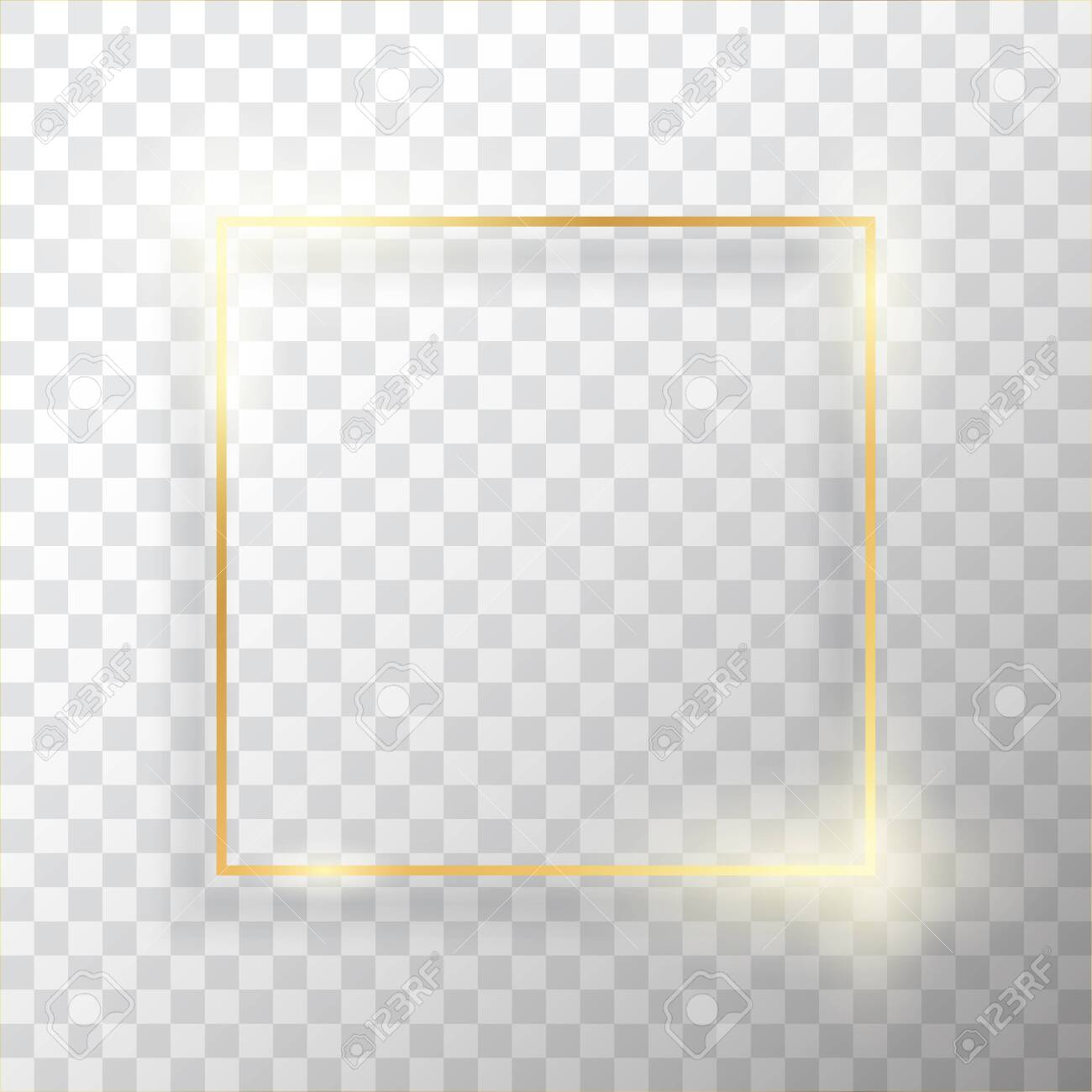 Gold square vintage frame with shadow on transparent background. Golden luxury rectangular border - realistic vector illustration - 124129734
