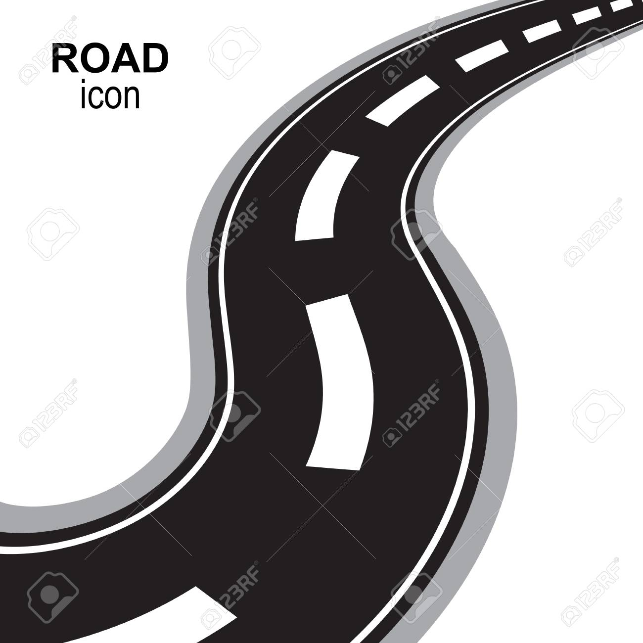 Road, way or highway perspective vector icon. Speedway silhouette, street pictogram or travel emblem isolated - 122120393