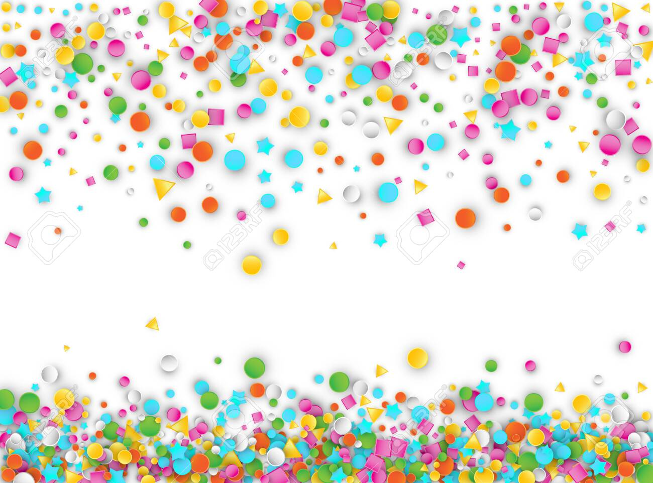 Colored Carnaval Confetti Explosion Background with Stars, Squares, Triangles, Circles. Abstract Geometric Shapes 3d Vector Pattern for Birthday and Party Design - 126185341
