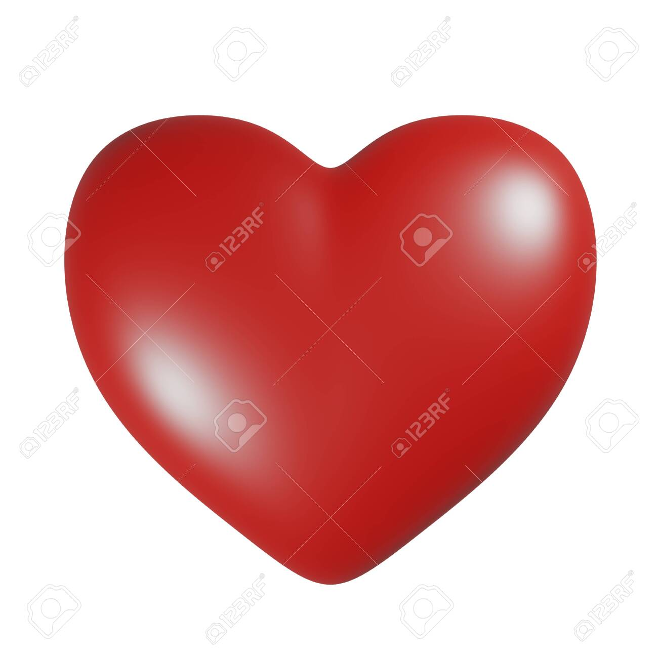 Simple red heart icon isolated on white background. 3D rendering illustration - 150053143