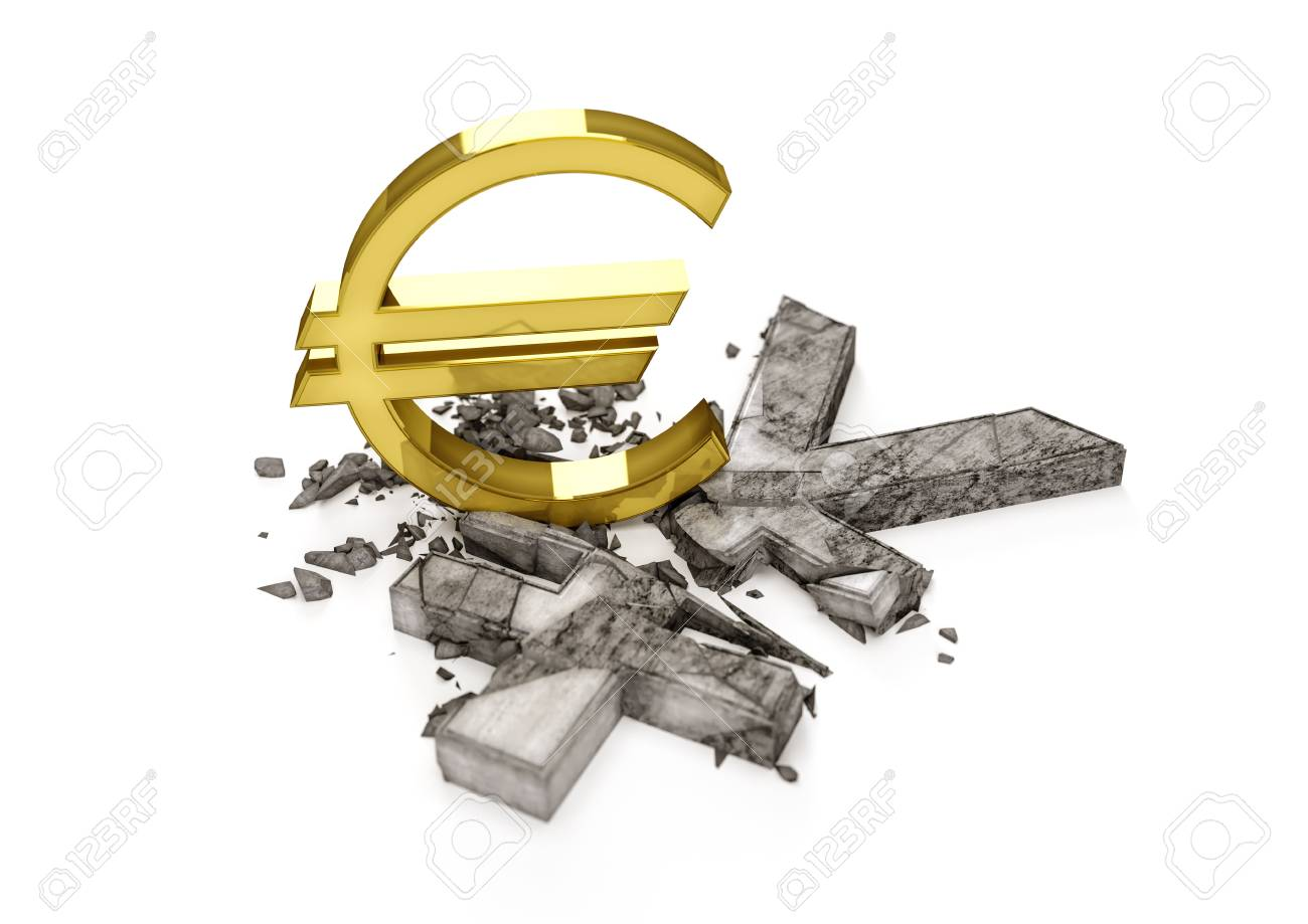 3d concrete yen symbol destroyed by gold euro sign exchange stock 3d concrete yen symbol destroyed by gold euro sign exchange rate of japan yen is biocorpaavc Images