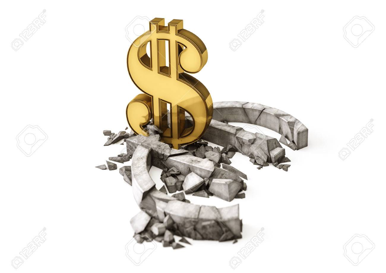 3d concrete euro symbol destroyed by gold dollar sign exchange 3d concrete euro symbol destroyed by gold dollar sign exchange rate of euro is fall biocorpaavc