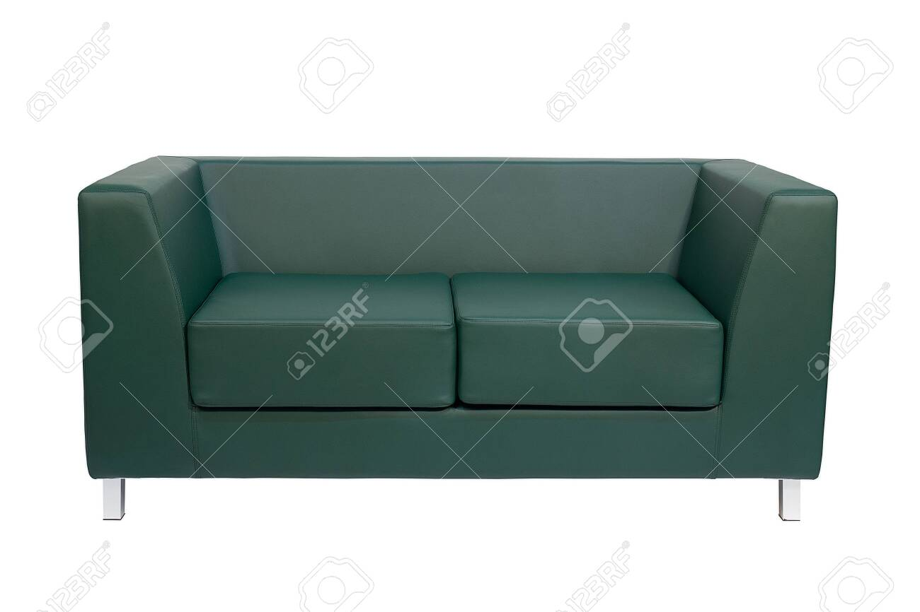 Green office sofa isolated on white background. Front view